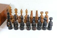 LARGE Vintage or Antique CHESS SET Staunton Pattern King 4½ Inch High Wooden Box