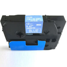 """For Brother P-Touch Laminated Tze Tz Label Tape 12mm/0.47"""" Color White on Blue"""