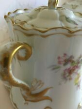 Haviland limoge china covered dish pink yellow green floral Italy Pre-Owned