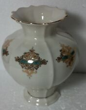 """Lenox Catalan Med vase Green/gold design gold trim 7"""" tall w/ stamp and tag"""