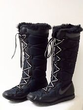 Nike Womens Black Snow Winter Boots w Faux Fur SZ 8 Gently Worn