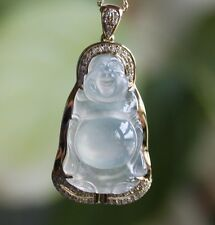 Certified Natural (A) Icy Translucent Jadeite Jade Buddha Diamonds Gold Pendant