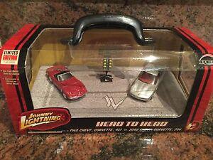 1968 427 Corvette  & 2002 Z06 Corvette Johnny Lightning 1/64 Scale Twin Set