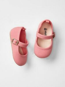 GAP Baby / Toddler Girl Size 18-24 Months NWT Pink Mary Jane Canvas Flats Shoes