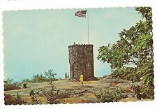 YELLOW DRESS Woman TOWER Mt. BATTIE CAMDEN Stone Observation Maine ME Postcard