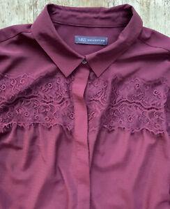 M/&s Indigo-Taille 12 14 16 18-Lovely Rouge Mélange Coton Femme Top Tunique-Entièrement NEUF sans étiquette