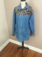 L.L. Bean Women's Denim Blue Jean Button Up Tapestry Jacket Size Large
