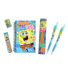 Brand New Spongebob Squarepants Blue Pen Note-Pad Pencil Eraser Ruler Stationery