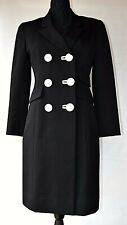 David Hayes Vintage Black Wool Double Breasted Coat Dress Womens 6