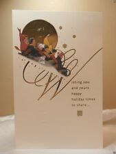 Holiday Seasonal Card Christmas Snow Sledding Greeting Gift Post Vintage