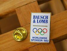 Bausch & Lomb Olympic Worldwide Sponsor 1992 Gold Tone Metal Lapel Pin Pinback