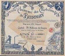 BELGIUM BEERINGEN COAL MINES stock certificate 1919