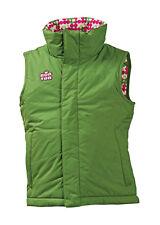BURTON SNOWBOARD GIRLS XL REVERSABLE SOLID GREEN/ WHITE PINK POLKA DOTS VEST NEW