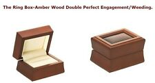 Exclusive Ring Box Amber Wood-Double Perfect For Engagement/Weeding Jewelry Box