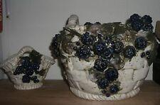 Austrian Reissner Stellmacher Kessel Amphora  vase Basket Berry   Pair 1890's