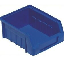 10  NEW PLASTIC STACKING PARTS STORAGE BINS BOXES SIZE 1 BLUE