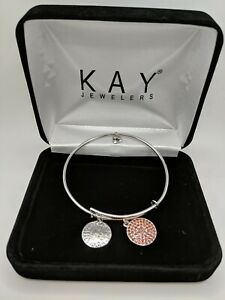 NEW CHARMED MEMORIES EXPANDABLE STERLING BANGLE BRACELET W/CHARMS January .925