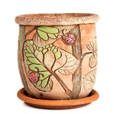 Brown Ceramic Planter with Ladybugs Artwork. Plants Clay Pot. Handmade
