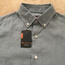 Ben Sherman Men Shirt Medium Long Sleeve Button Down Plaid 15 32/33 New $98 H04
