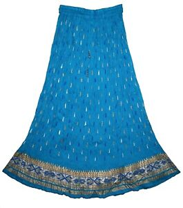 Indian Cotton Skirt Kjol Jupe Retro Ethnic Rock Boho Hippie Gypsy Vintage Falda