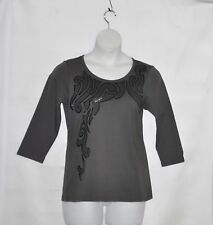 Bob Mackie Embroidered Pull-Over Knit Top with Sequins Size S Charcoal