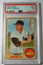 1968 TOPPS #280 MICKEY MANTLE YANKEES PSA 7 NM!