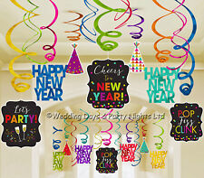 30 Sparkly Happy New Year Hanging Foil Swirls Cutouts Party Ceiling Decorations