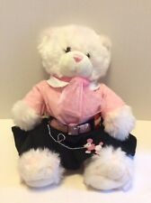 Build A Bear White Frosted Pink Bear Plush Stuffed Animal 50s Pink Poodle Outfit