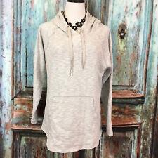 Calvin Klein Women's Size Large L Gray White Hoodie Sweatshirt Long Sleeve B10