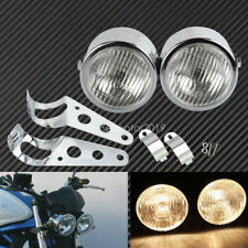 Chrome Twin Headlight Motorcycle Motorbike Dual Lamp w/ Bracket Mouting Kit