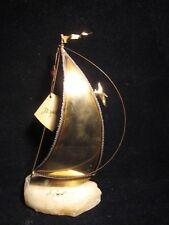 "Vintage John DeMott Signed 9.5"" Brass Copper Onyx Stone Base SAILBOAT SCULPTURE"