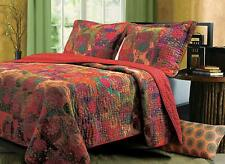 Beautiful Vibrant Red Blue Purple Bohemian Teal Green Boho Soft Quilt Set King