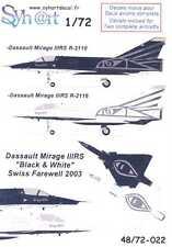 Syhart Decals 1/72 DASSAULT MIRAGE IIIRS Black & White Swiss Farewell 2003