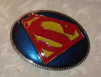 "SUPERMAN Insignia 4"" Metal Belt Buckle -- Blue Background - Nice!"