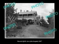 OLD POSTCARD SIZE PHOTO OF WARWICK QLD VIEW OF THE HOSPITAL c1897