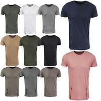 Mens Designer Longline Cotton T-Shirt by Brave Soul Zip Front Crew Neck New XS-L