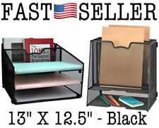 Mesh Desk File Organizer With 3 Letter Tray & 1 Vertical Section Holder Desktop