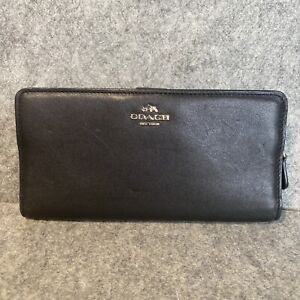 Black Coach Wallet Leather International ID 15 Card Slots Coin Checkbook