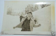 Original Vintage 1940's Funny Man Laughing Cars Stuck In Snow Photograph Photo