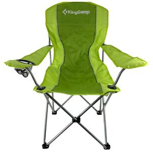 KingCamp Folding Chair Arm Quad Chair Oversized Lime Green Steel Frame Nwt