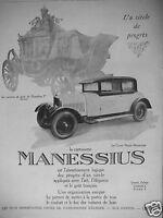 PUBLICITÉ DE PRESSE 1927 CARROSSERIE MANESSIUS LE COUPÉ ROYAL - ADVERTISING