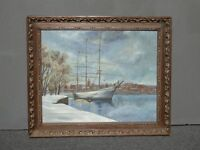 """Vintage """"In The Harbor"""" Oil on Canvas Painting Louis M. Hess 64 CA Artist"""