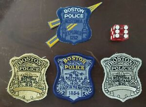 (4) BOSTON POLICE BOSTONIA EXPLORER PATCH NOT WORN GOLD SILVER