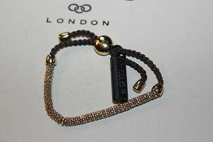 GENUINE LINKS OF LONDON EFFERVESCENCE XS YELLOW GOLD VERMEIL BLACK CORD BRACELET