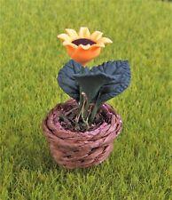 Miniature Dollhouse Fairy Garden Sunflower in Woven Basket - Buy 3 Save $5