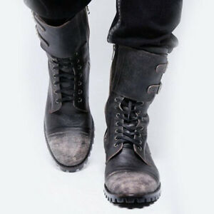 Men's Military Mid Calf Army Boots Retro Punk Comfortable Leather Buckle Combat