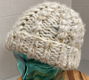 WOMENS THE NORTH FACE CABLE KNIT OFF WHITE WINTER HAT OSFM EXCELLENT CONDITION
