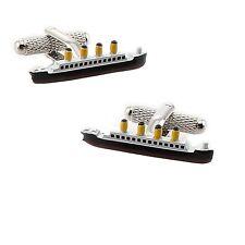 Onyx-Art CK911 Titanic Cruise Shaped Metallic Cuff Links plus FREE Pen
