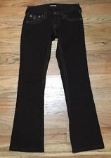 Guess Brown Stretch Jeans Pants Womans Size 24 Flare Leg White Stitching