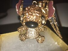 Betsey Johnson Necklace Stitch  Gold Stitch With Crystals Rare Color Gift Box